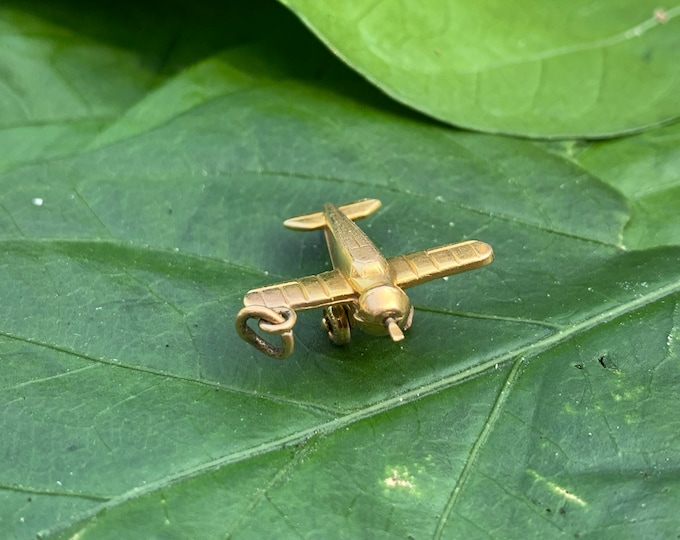 14K Yellow Gold Airplane Charm, Plane Charm, Pilot Gift