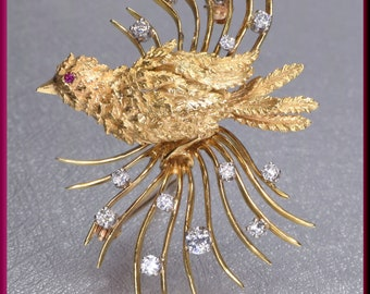 Gold Bird Brooch, Gold Lovebirds Brooch, Lovebirds Brooch, Diamond Brooch, Ruby Brooch, Brooch Bouquet, Bridal Brooch