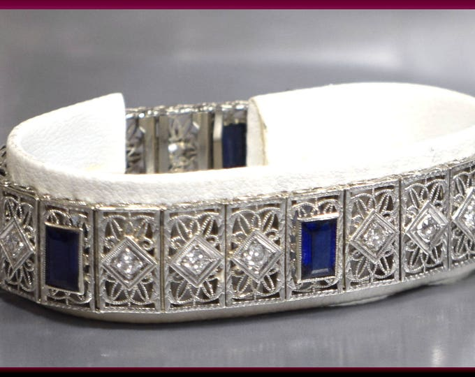 Art Deco Vintage Antique 14K White Gold and Diamond Line Filigree Bracelet - BR 412S