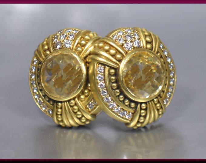 Vintage Judith Ripka 18K Yellow Gold Citrine and Diamond Earrings