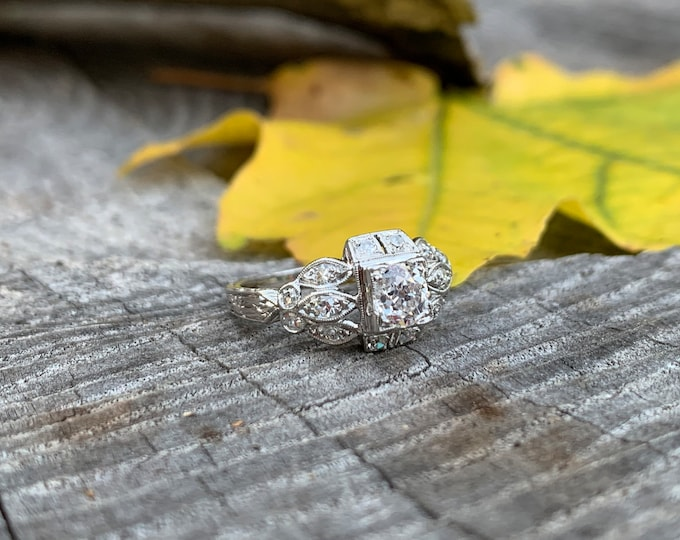 Art Deco Engagement Ring, Antique Engagement Ring , Art Deco Diamond, Conflict Free, Alternative Ring, Art Deco Ring, Filigree Ring