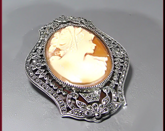 Vintage Sterling Silver and Marcasite Cameo Pin and Pendant
