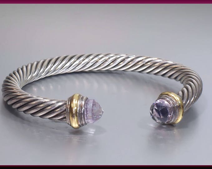 David Yurman Vintage Cable Collection Sterling Silver, Yellow Gold and Amethyst Bangle Bracelet - DY 80