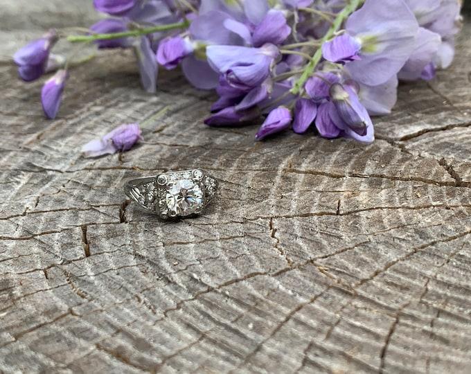Art Deco Platinum Diamond Engagement Ring, Art Deco Diamond Ring, Conflict Free
