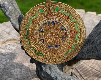 Plique a Jour Gold Aztec Pendant, Aztec Tonatiuh Pendant