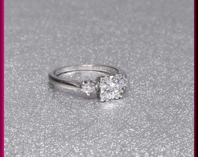 Retro Engagement Ring, 1940s Engagement Ring, Antique Engagement, Conflict Free, Alternative Ring, Vintage Diamond Ring