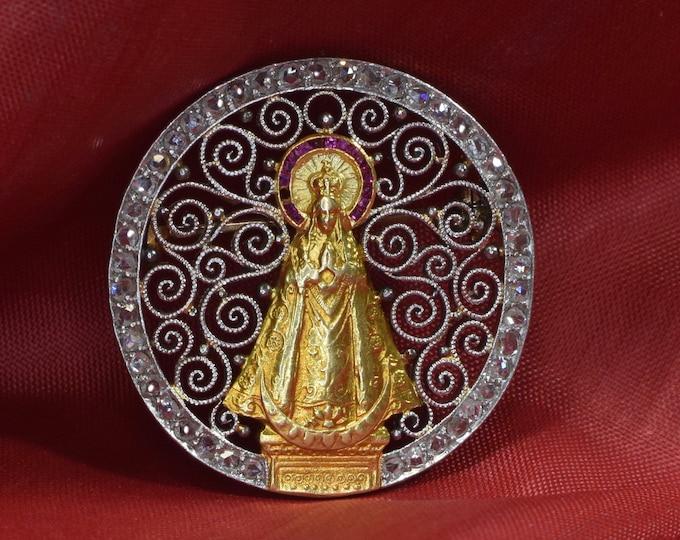 Edwardian Virgin Mary Brooch, Antique Virgin Mary Brooch