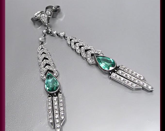 Vintage Emerald and Platinum  Diamond Dangle Chandelier Earrings - EA 312M