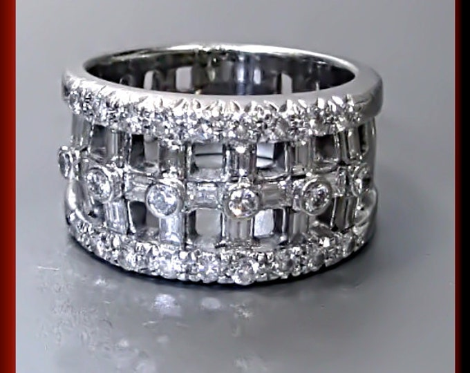 Antique Vintage 14K White Gold  Diamond Wedding Ring Band - R 293S