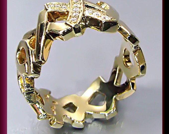 "Vintage Tiffany and Company ""X/O"" 18K Yellow Gold Diamond Band Ring"