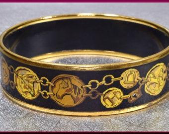 Hermes Grand Apparat Cloisonne Enamel Bangle Bracelet