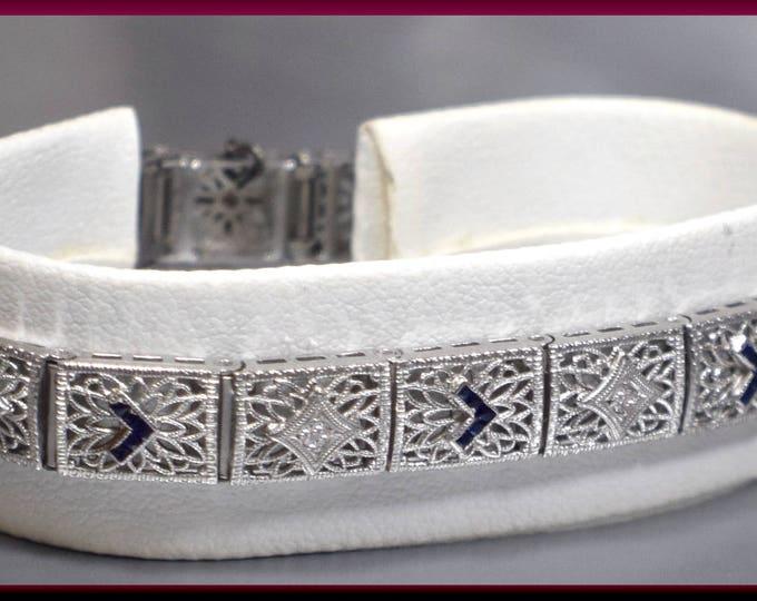 Art Deco Antique Vintage Platinum and 14K White Gold Filigree and Diamond Bracelet - BR 411M