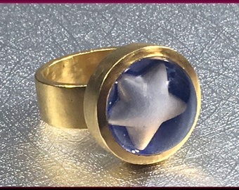 22K Gold Ring Statement Ring Star Ring Cocktail Ring Yellow Gold Bubble Ring - EB48