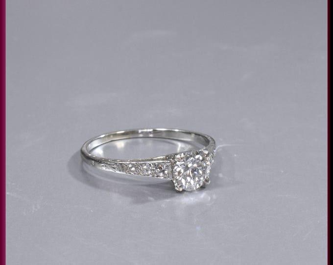 Art Deco Diamond Engagement Ring Antique Diamond Engagement Ring with Old European Cut Diamond Platinum Wedding Ring - ER 525M