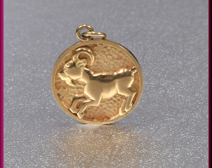 Aries Pendant, Yellow Gold Aries Pendant, Aries Charm. Round Aries Charm