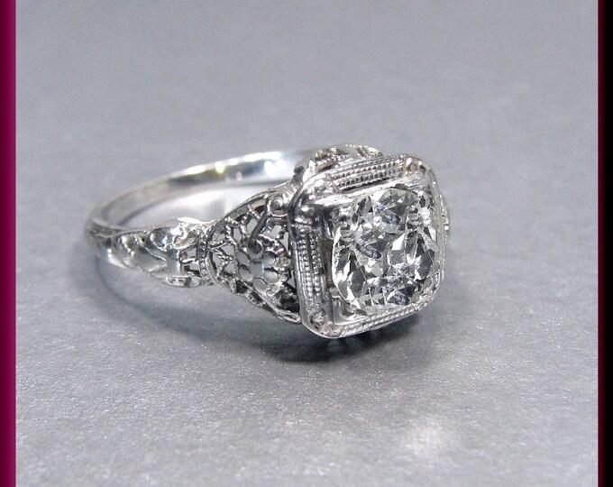 Art Deco Diamond Engagement Ring Antique Diamond Engagement Ring with Old European Cut Diamond 18K White Gold Wedding Ring- ER 228M