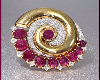 Art Deco Ruby Brooch, Art Deco Gold Brooch, Floral Brooch, Ruby Brooch, Diamond Brooch, Brooch Bouquet, Bridal Brooch