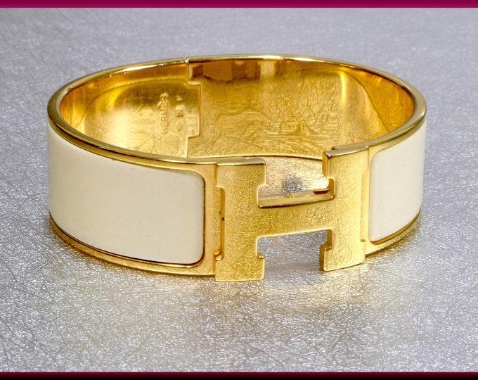 Hermes Clic Clac H Off White Enamel Bangle Bracelet