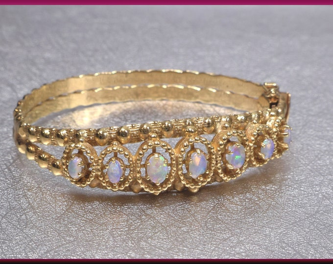 Vintage Gold Opal Bangle, Opal Bracelet, October Birthstone, Gemstone Bangle, Fiery Opal Bangle