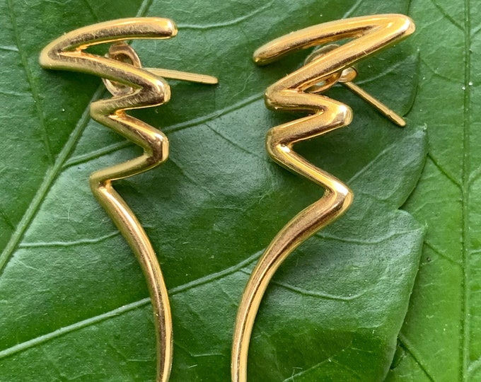 Tiffany & Co Squiggle Earrings, Tiffany Squiggle Earrings, Tiffany Gold Earrings, Paloma Picasso Earrings