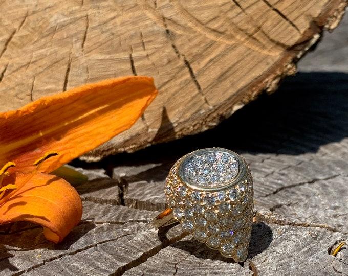 Yellow Gold Diamond Cocktail Ring, Diamond Cluster Ring, Dramatic Diamond Ring