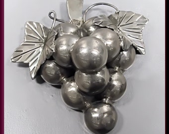 Vintage Sterling Silver Bunch of Grapes Pin Pendant