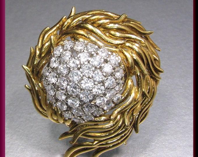 Vintage 1960's 18K Yellow Gold Diamond Spray Pin Brooch