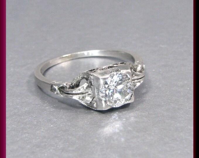 Art Deco Diamond Engagement Ring Vintage Diamond Engagement Ring with Old European Cut Diamond 18K White Gold Wedding Ring  - ER 358M
