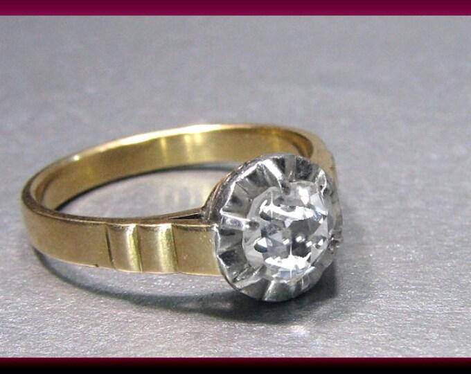 Antique Engagement Ring Victorian Engagement Ring Rose Cut Diamond 14K Pinkish Gold  Wedding Ring - ER 437M