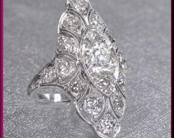 Diamond Cocktail Ring Deco Diamond Ring Diamond Statement Ring