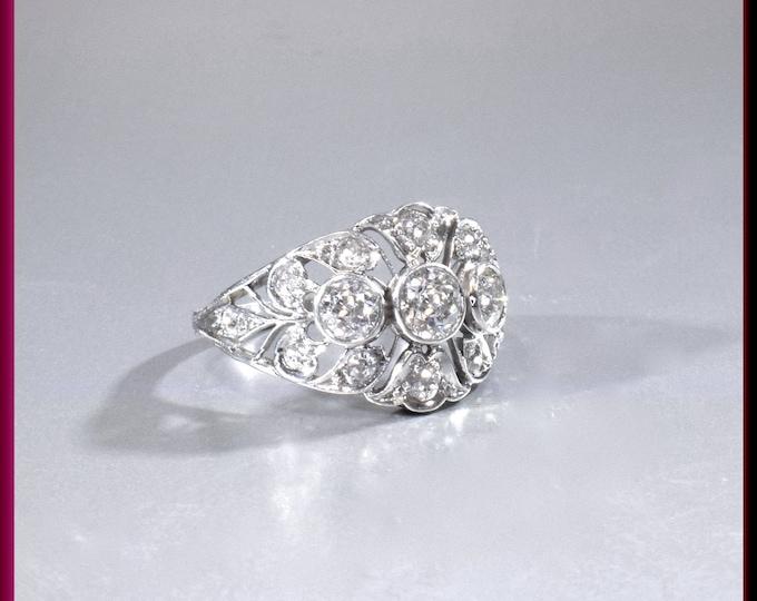 Art Deco Diamond Ring Deco Dinner Ring Art Deco Cocktail Ring Platinum Statement Ring