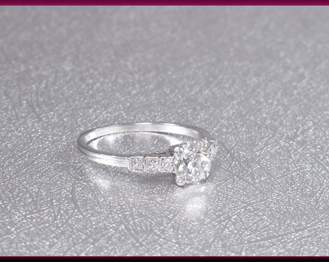 Art Deco Diamond Engagement Ring Antique Diamond Engagement Ring with Old European Cut Diamond Platinum Wedding Ring - ER 645M