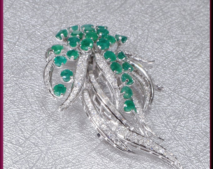 Vintage Emerald Brooch, Vintage Diamond Brooch, Spray Brooch, Emerald Brooch, Diamond Brooch, Brooch Bouquet, Bridal Brooch
