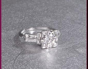 Art Deco Diamond Engagement Ring Antique Diamond Engagement Ring with Old European Cut Diamond Platinum Wedding Ring - ER 506S