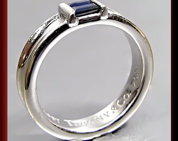 Vintage Tiffany and Company 18k White Gold Sapphire Band