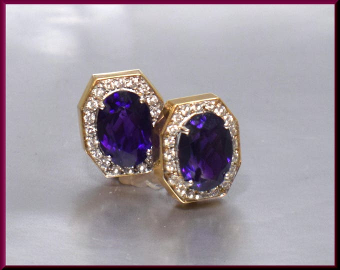 Vintage 1960's 14K Yellow Gold Oval Cut Amethyst and Diamond Earrings