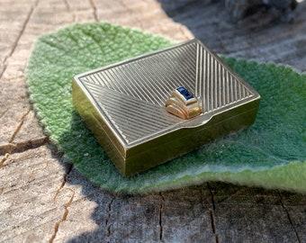 Antique Pill Box, Sapphire Pill Box, Vintage Pill Box, Yellow Gold Pill Box, Mini Pill Box, Estate Jewelry