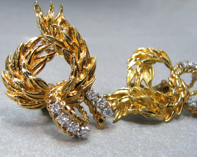 Vintage Mod 1960's 18K Yellow Gold and Diamond Earrings