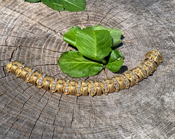 Yellow Gold and Diamond Bracelet, Chunky Gold Bracelet, Wide Gold Bangle