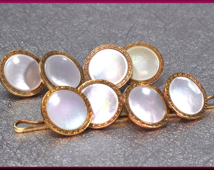 Cufflink And Stud Set, Mother of Pearl Cufflink, Antique Stud Set, Antique Cufflinks, Grooms Gift