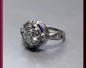 Antique Diamond Engagement Ring Art Deco Diamond Engagement Ring with Old European Cut Diamond 18K White Gold Wedding Ring  - ER 405S