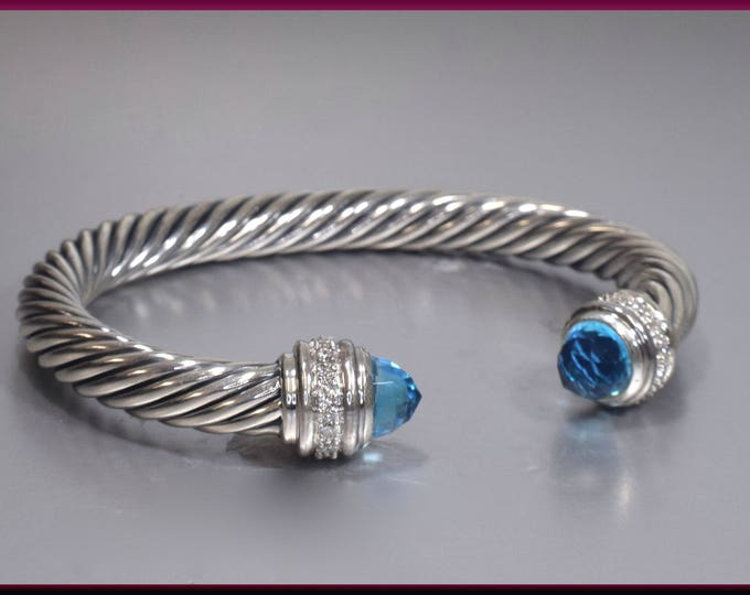 David Yurman Vintage Cable Collection Sterling Silver, Blue Topaz and Diamond Bangle Bracelet - DY 79