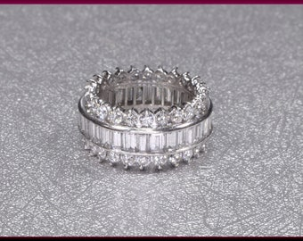 Platinum Baguette Diamond Wedding Band, Wide Diamond Band, Wide Baguette Band, Anniversary Band, Multi Row Diamond Band