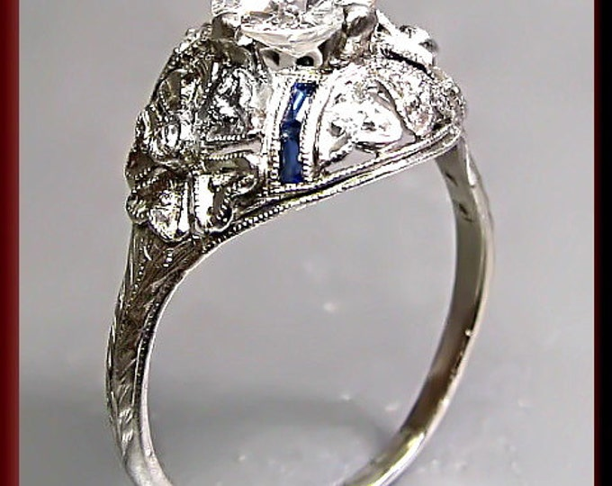 Antique Diamond Engagement Ring Art Deco Diamond Engagement Ring with Old European Cut Diamond Platinum Wedding Ring - ER 351M