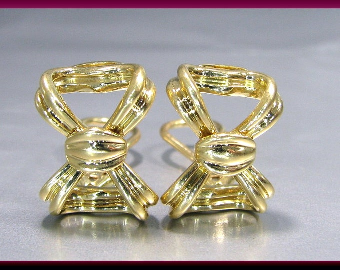 Vintage Tiffany and Company 18K Yellow Gold Bow Earrings