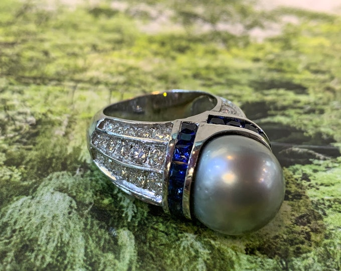 South Sea Pearl Ring, Tahitian Pearl Ring, Sapphire Ring, Pearl Statement Ring
