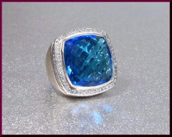 David Yurman Blue Topaz Ring, David Yurman Albion Ring, Sterling Silver Ring David Yurman Ring, Yurman Ring Size 5.5
