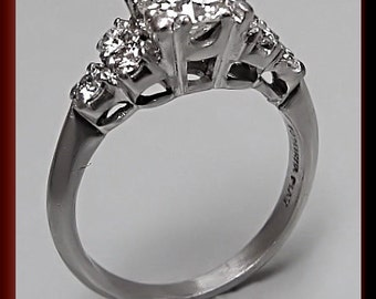 Antique Diamond Engagement Ring Vintage Diamond Engagement Ring Retro Engagement Ring Diamond Platinum Wedding Ring  ER 391S