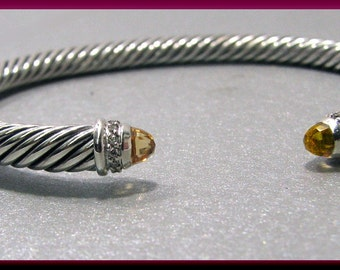 Vintage David Yurman  Cable Collection Sterling Silver Citrine and Diamond Bangle - DY19