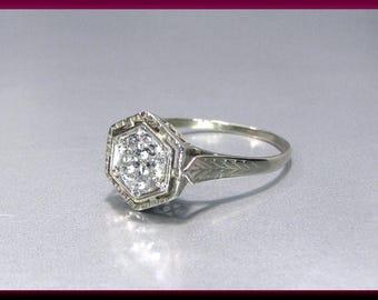 Vintage Diamond Engagement Ring Filigree Diamond Engagement Ring with Old European Cut Diamond 20K White Gold Wedding Ring- ER 609M